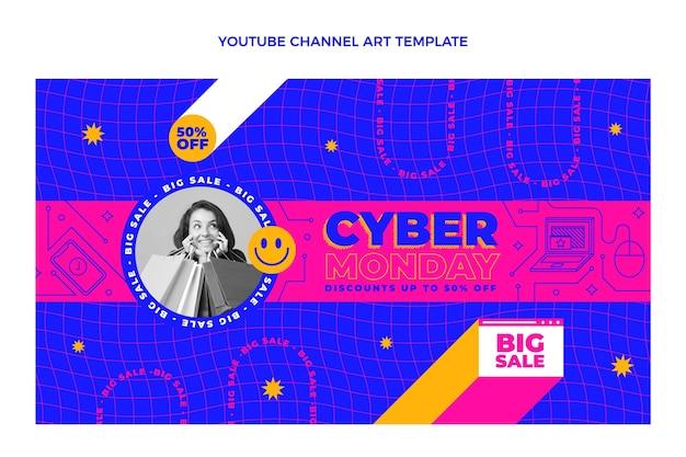 Arte plana do canal do youtube na cibernética segunda-feira