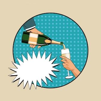 Arte pop de brinde de champanhe