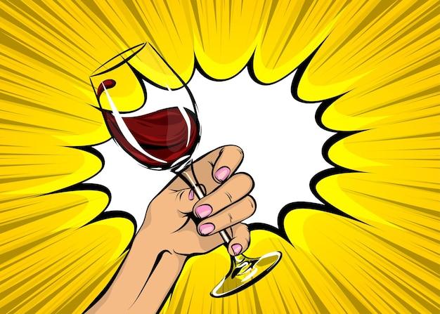 Arte pop de poster vintage antigo segurando um copo de vinho tinto mão de menina com bebida no estilo de quadrinhos