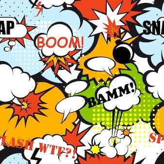 Arte pop em quadrinhos de padrão sem emenda