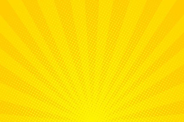 Arte pop. fundo com pontos. fundo amarelo em quadrinhos. padrão retro engraçado dos desenhos animados. ilustração vetorial