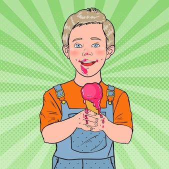 Arte pop menino feliz comendo sorvete