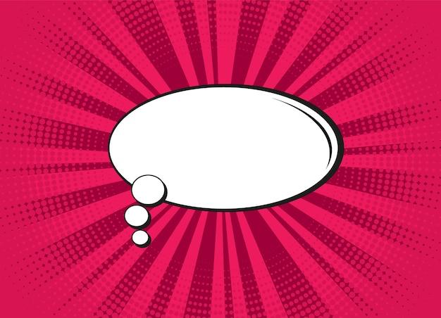Arte pop. textura de meio-tom em quadrinhos com bolha do discurso. padrão de starburst vermelho dos desenhos animados.