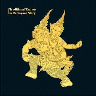 Arte tailandesa tradicional na história de ramayana, vetor de estilo
