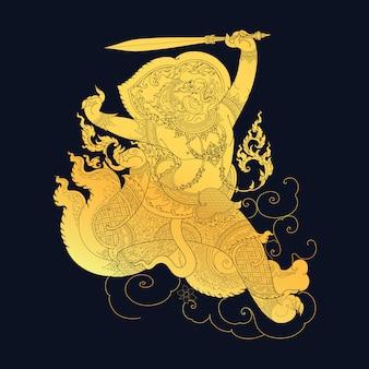 Arte tailandesa tradicional na ilustração da história de ramayana