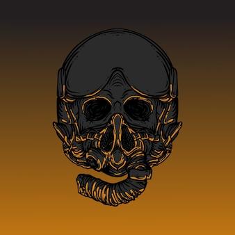 Arte trabalho ilustração desenho crânio com capacete piloto jato