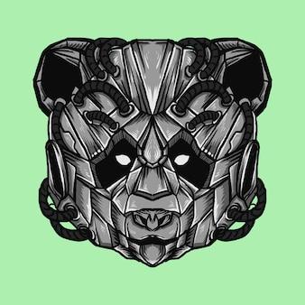 Arte trabalho ilustração e design de t-shirt panda robótico cabeça