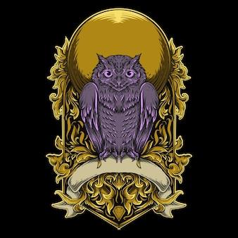 Arte trabalho ilustração e t-shirt desenho coruja gravura ornamento