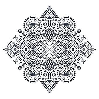 Arte tribal boho desenhado à mão padrão geométrico. impressão étnica vetorial em preto e branco para tecido, design de tecido, camisetas, embalagem