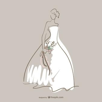 Arte vestido de casamento vetor