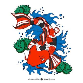 Arte vetor peixes koi