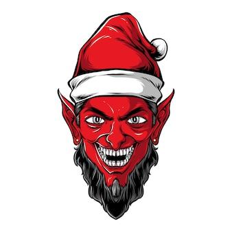 Arte vetorial da cabeça do papai noel diabo