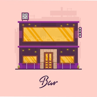 Arte vetorial de edifício de bar moderno e plano