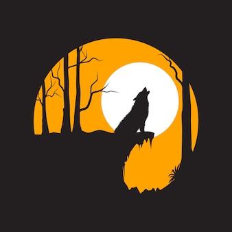 Arte vetorial design plano howling wolf