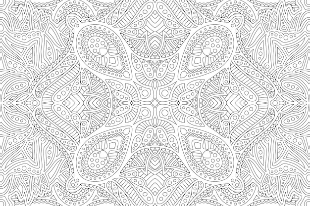 Arte zen com padrão detalhado monocromático linear