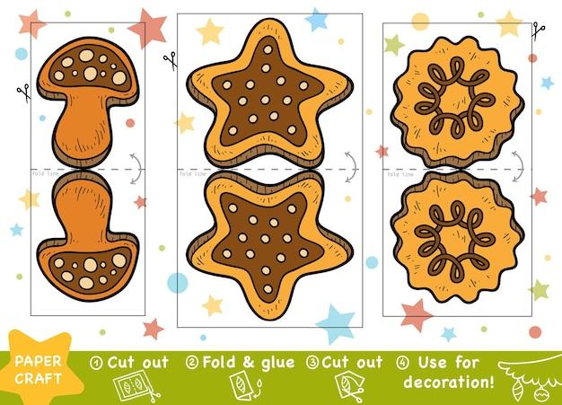 Artesanato de papel de natal educacional para crianças biscoitos de natal