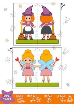 Artesanato de papel educacional para crianças, bruxa e fada. use tesouras e cola para criar a imagem.