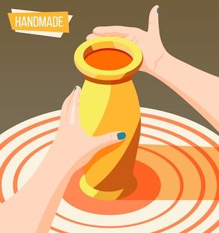Artesanato de passatempo isométrico com mãos femininas, fazendo o jarro de barro 3d