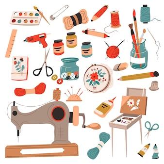 Artesanato e hobbies, costura e alfaiataria, desenho e tricô. instrumentos e equipamentos para trabalho e masterclasses. máquina e linha, tintas e pincéis, lápis e alfinetes. vetor em estilo simples