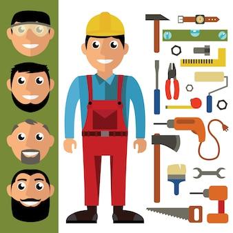 Artesão e ferramentas em design plano. gráfico de vetor em estilo contemporâneo