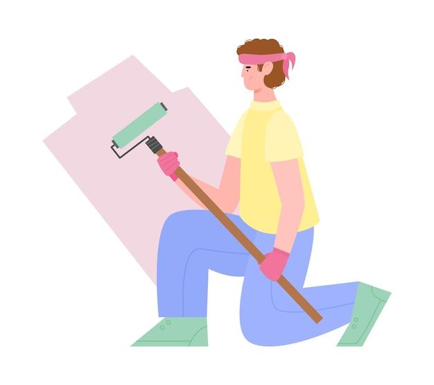 Artesão pintor de paredes ou faz-tudo com rolo de tinta uma ilustração