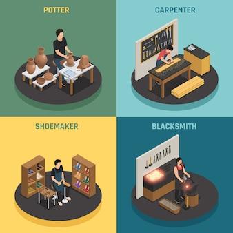 Artesão profissões 2x2 design concept