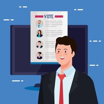 Artigo dos presidentes de votação no dia da eleição sobre computador e design do homem, governo e tema de campanha