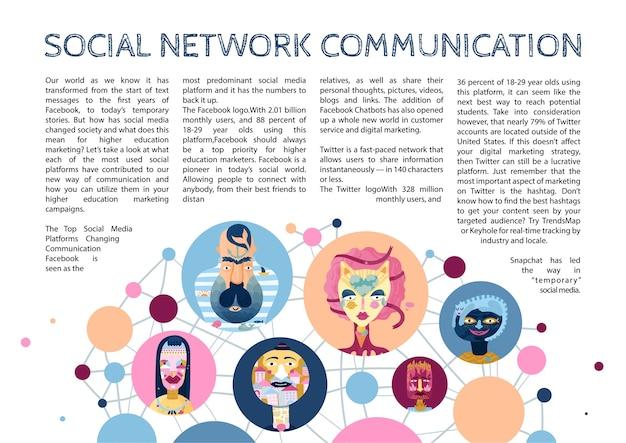 Artigo infográfico do mundo interior humano no contexto de comunicações de rede do ciberespaço e personagens de mídia social