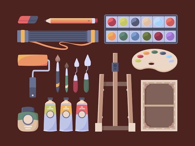 Artigos de artista. ferramentas para pincéis de pintor, tubos de óleo de lona, cavalete, lápis, paleta de papel, coleção de vetores. equipamento do artista, pincel e aquarela, ilustração do esboço