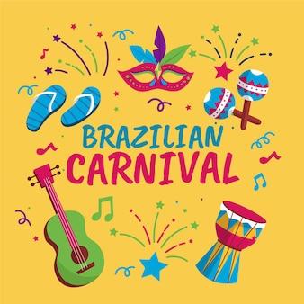 Artigos de carnaval brasileiro de design plano