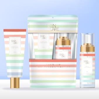 Artigos de higiene de viagem ou de praia no verão ou conjunto de cuidados com a pele em saquetas ou pacotes de embalagens com design de padrão de faixa arco-íris.