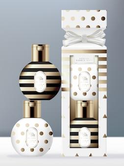 Artigos de higiene pessoal de embalagem festiva conjunto com garrafa de bugiganga e caixa de biscoito de fita. padrão de triângulo, ponto e listra em folha de ouro.