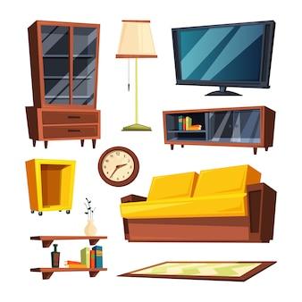 Artigos de mobília da sala de visitas. ilustrações vetoriais em estilo cartoon