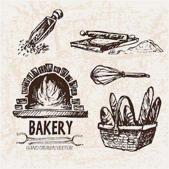 Artigos de padaria desenhados à mão