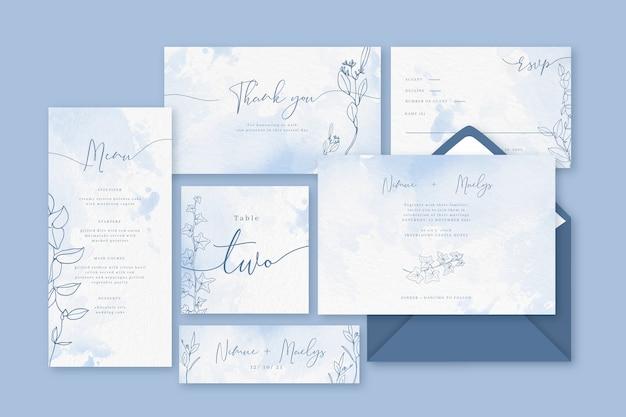 Artigos de papelaria azuis pastel do pó do casamento
