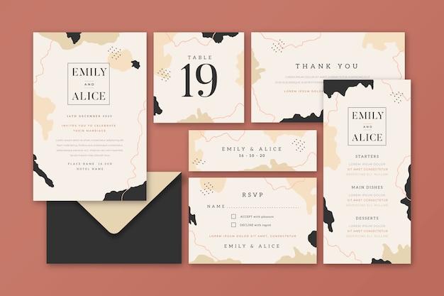 Artigos de papelaria bonitos do casamento
