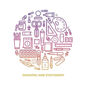 Artigos de papelaria brilhante e ícones de linha de desenho redondos