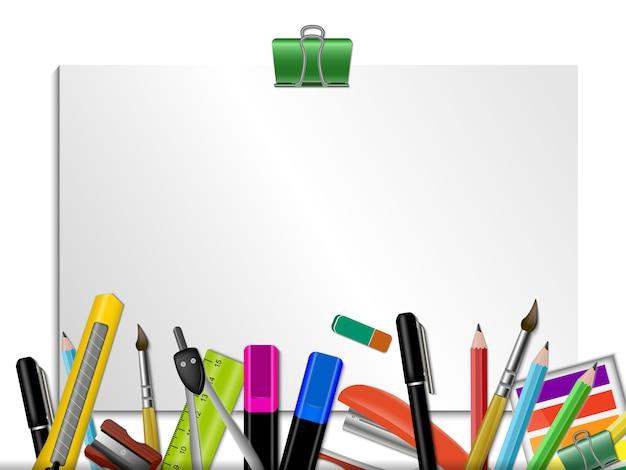 Artigos de papelaria coloridos com página em branco