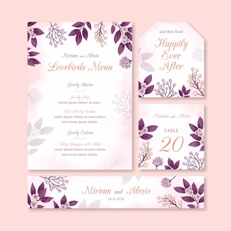Artigos de papelaria coloridos do casamento