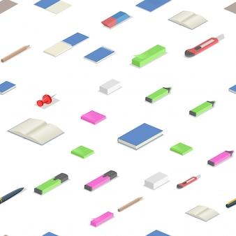 Artigos de papelaria coloridos fornecem padrão sem emenda isométrico. ilustração isométrica colorida. sobre fundo branco.