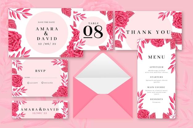 Artigos de papelaria coloridos rosa do casamento