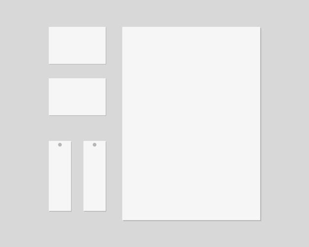 Artigos de papelaria com papel, cartões de visita, etiquetas de preço. marca de papelaria cena. identidade corporativa. . template.