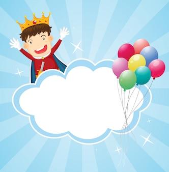 Artigos de papelaria com um rei e balões