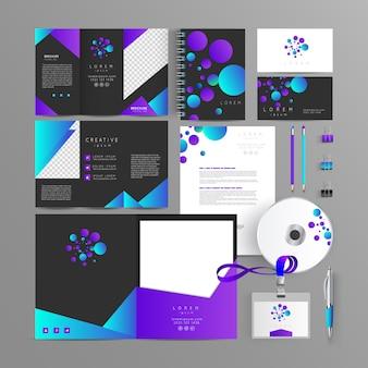 Artigos de papelaria corporate brand identity mock up set