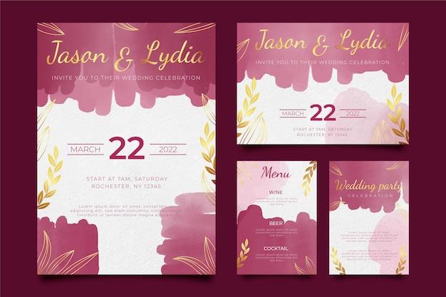 Artigos de papelaria da borgonha e casamento dourado