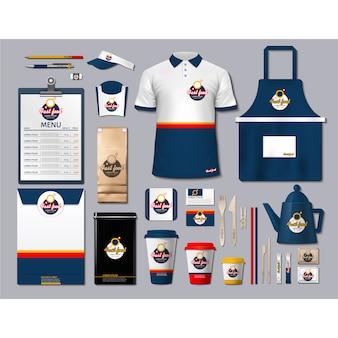 Artigos de papelaria de café com design azul escuro