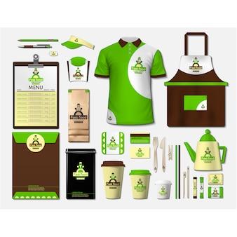 Artigos de papelaria de café com design verde