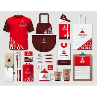 Artigos de papelaria de café com design vermelho
