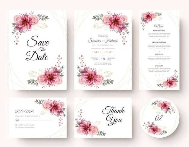 Artigos de papelaria de cartão de convite de casamento conjunto com decoração de flores em aquarela