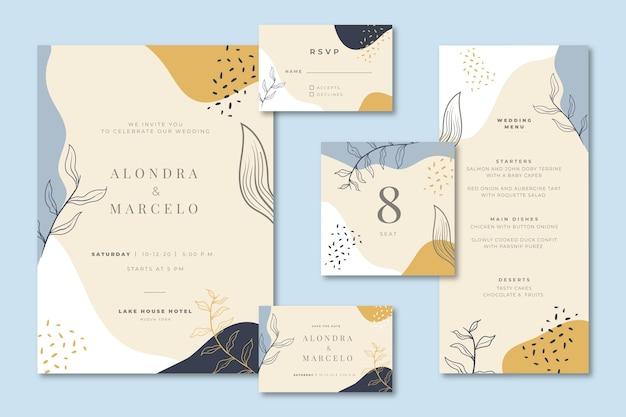 Artigos de papelaria de casamento com convite e menu